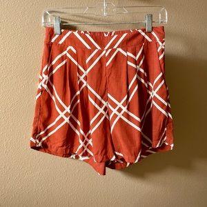 NWOT Ava Sky Rust & Cream Shorts